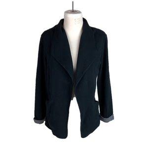 Matty M Medium Jacket Open Front Roll Cuffs Black